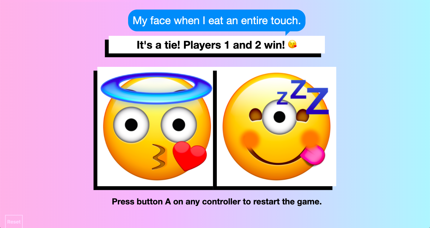 Screenshot of gameplay showing two winning composite emoji, one with a halo blowing a kiss and the other with three eyes, a protruding tongue and a snoring symbol